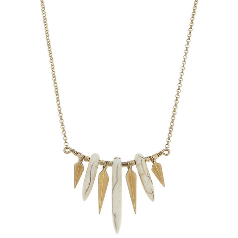 Natural Stone and Gold Spiked Necklace