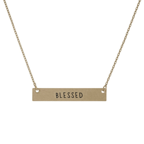 """Blessed"" Bar Necklace"
