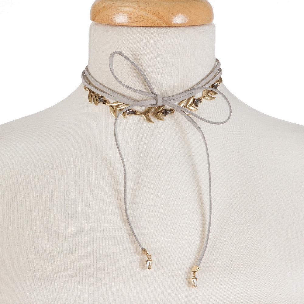 Grey Wrap Choker with Gold Leaf Details