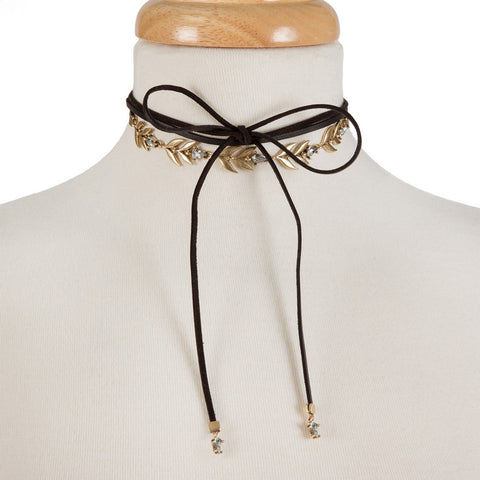 Black Wrap Choker with Gold Leaf Details