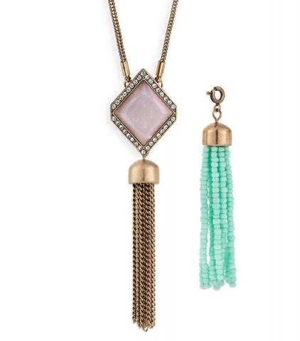 Courtright Convertible Pendant in Pink + 2 Tassels
