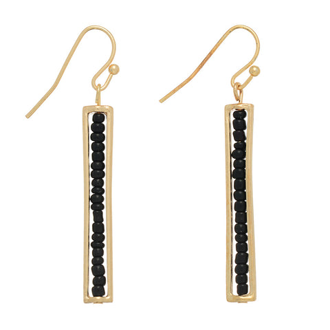 Black Beaded Gold Bar Earrings