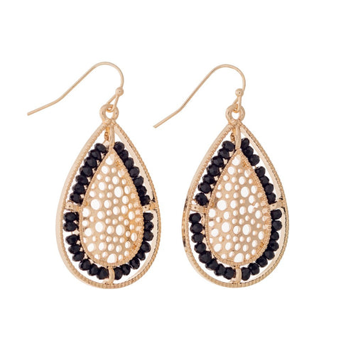 Teardrop Beaded Filigree Earrings