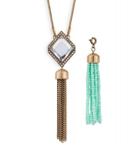 Courtright Convertible Pendant in Clear + 2 Tassels