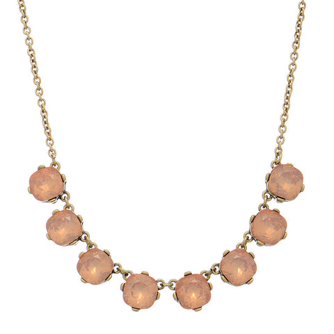 Pink Gem Stones on Gold Chain Necklace