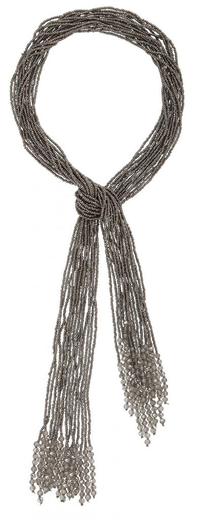 Beaded Scarf Necklace in Grey