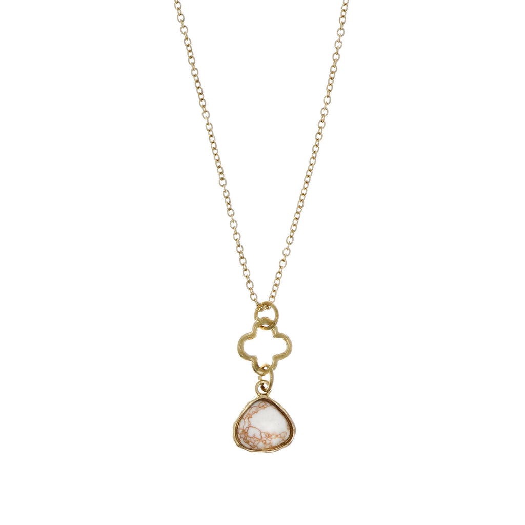 Delicate Gold Necklace with White Marble Pendant