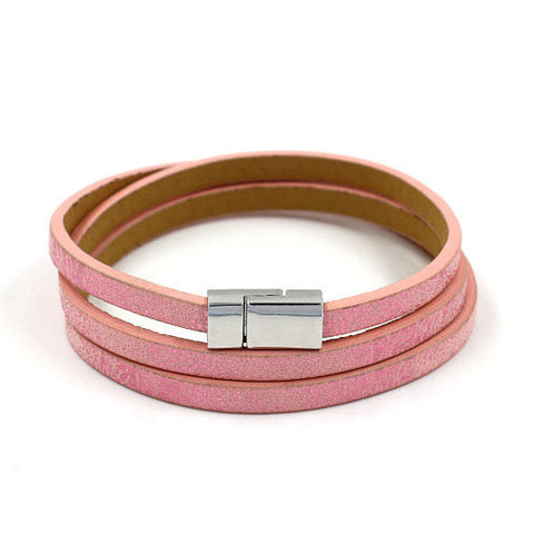 Metallic Wrap Bracelet in Pink