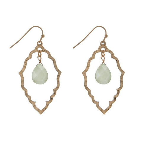 Gold Dangly Earrings with Mint Stone Center