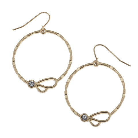 Gold and Rhinestone Hoop Earrings