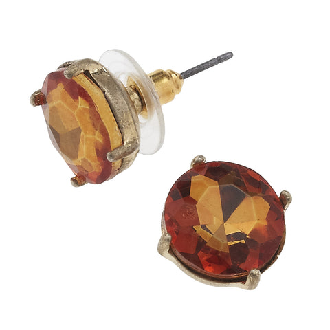 Gem Stud Earrings in Orange