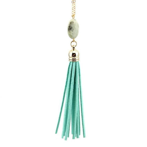 Everyday Stone Tassel in Teal
