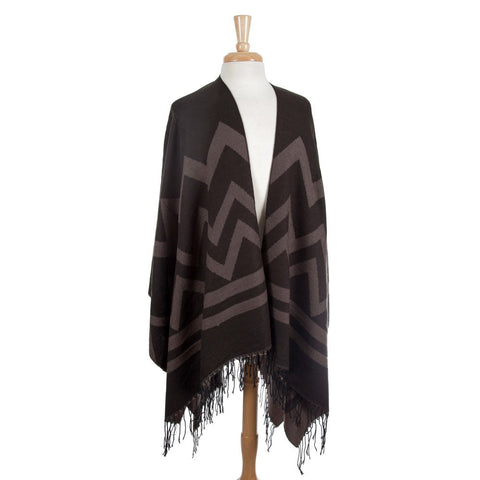 Chevron Shawl - Warm Greys