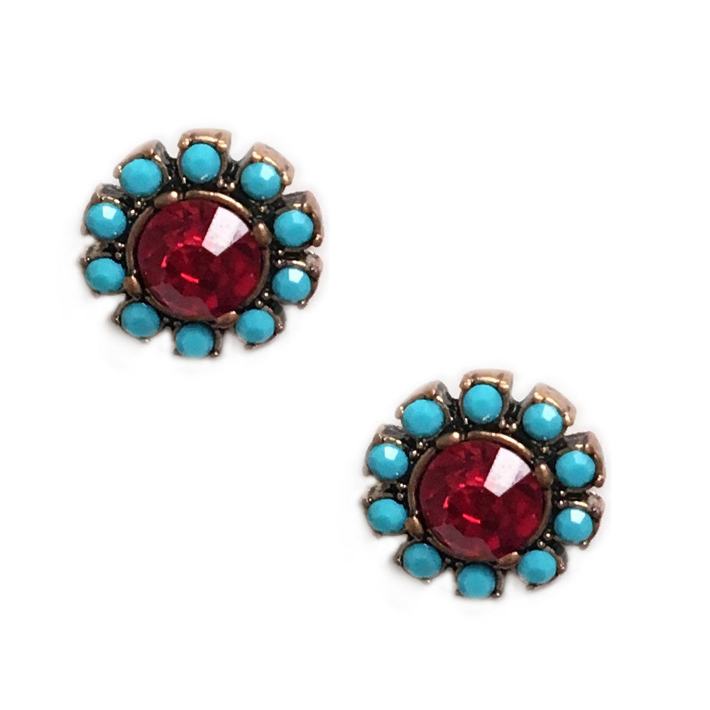 Teal and Red Floral Stud Earrings