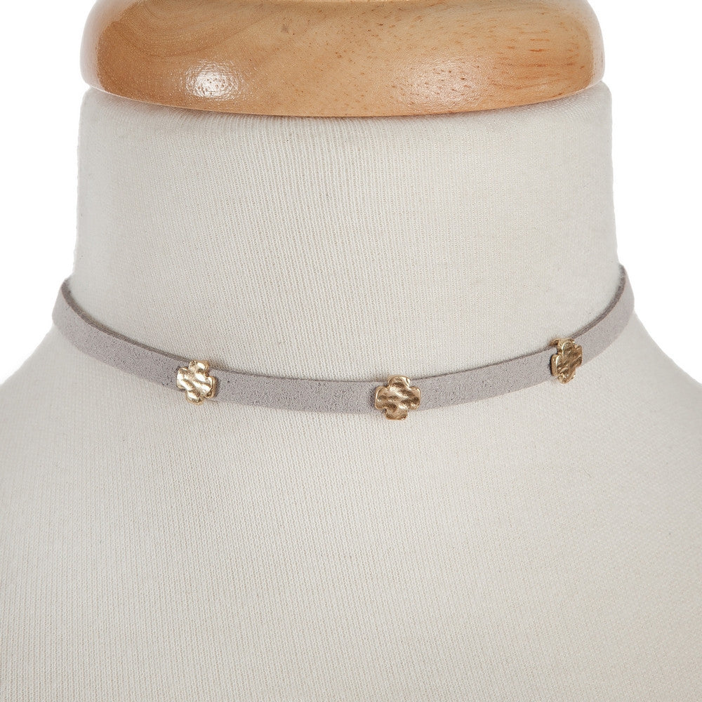 Grey Suede Choker with Gold Cross Details