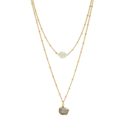Gold Layered Necklace with Natural Pearl and Stone