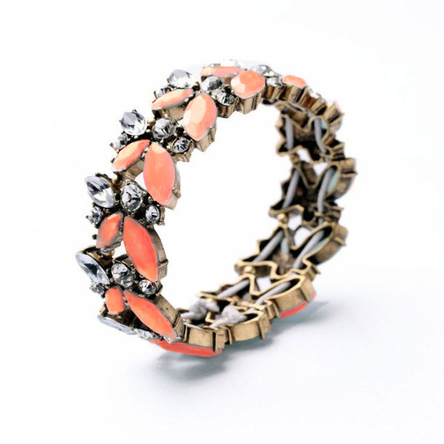 Coral and Rhinestone Floral Stretch Bracelet