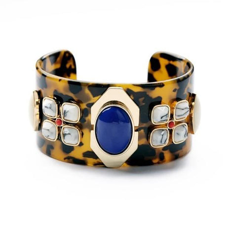 Tortoiseshell Cuff with Large Blue Stone