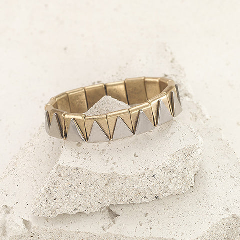 Gold and Silver Geometric Stretch Bracelet