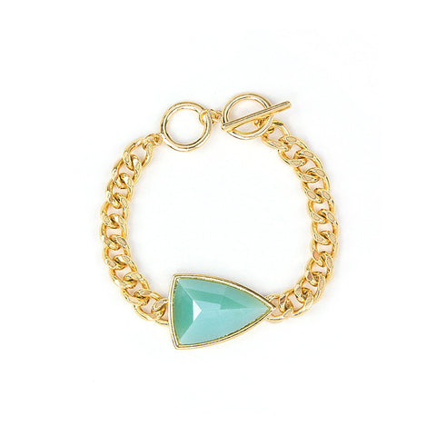 Teal Arrow and Gold Chain Bracelet