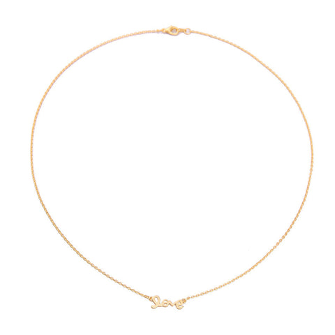 Love Script Gold Necklace