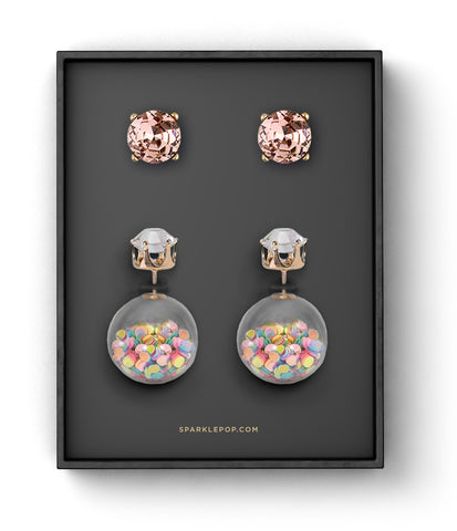 Confetti Double Sided Studs and Pink Gems