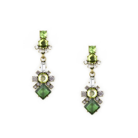 Astaire Drop Earrings in Emerald Green
