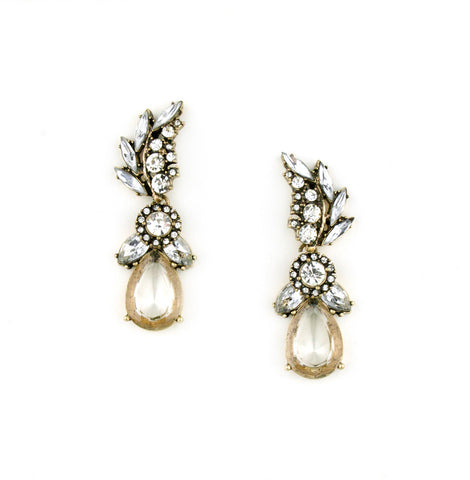 Elegant Rhinestone and Ivory Drop Earrings