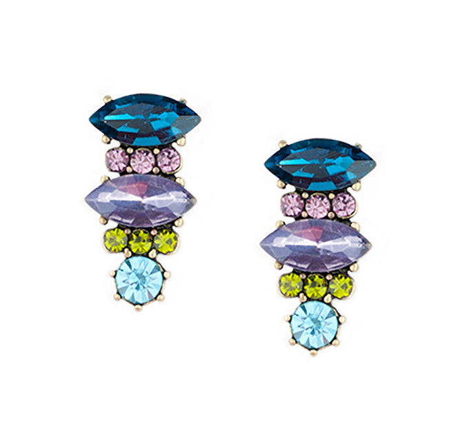 Colorful blue, purple, and green Rhinestone Earrings