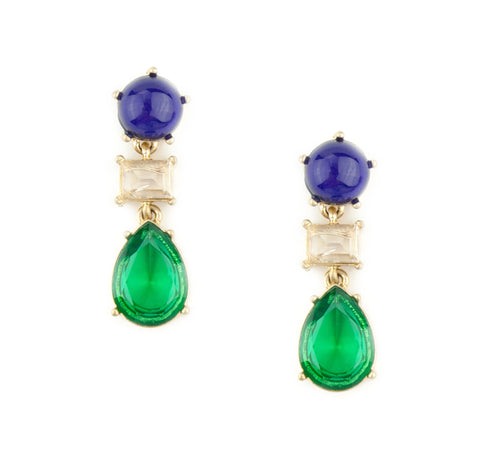 Statement Earrings with Purple, green, and clear gems