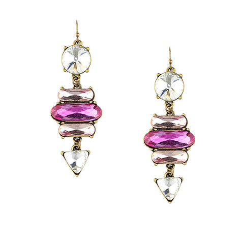 Clear and Hot Pink Crystal Handmade Earrings