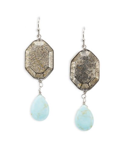 Metal and Turquoise Stone Dangly Earrings