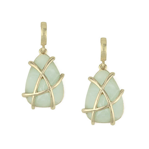 Caged Mint Drop Earrings