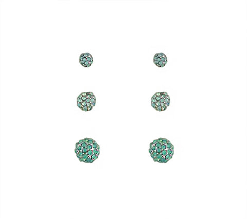 Pavè Green Triple Earring Set