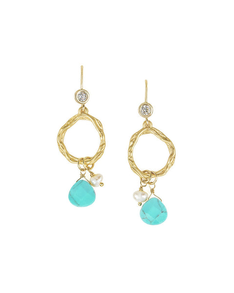 Gold Hoop Earrings with Turquoise Stone Detail
