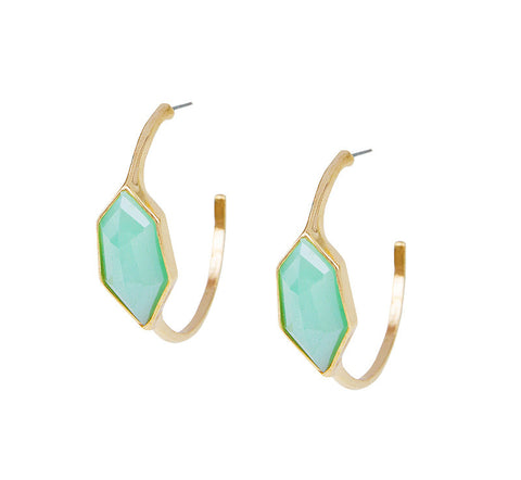 Teal and Gold Hoop Studs