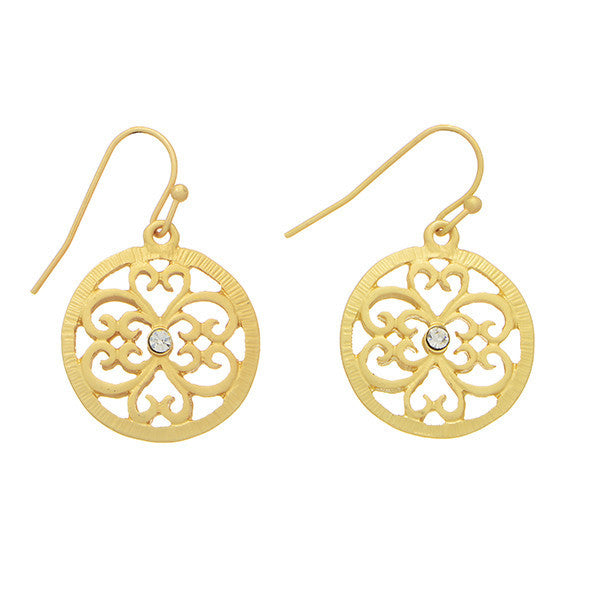 Round Filigree Gold Earrings with Rhinestone Center