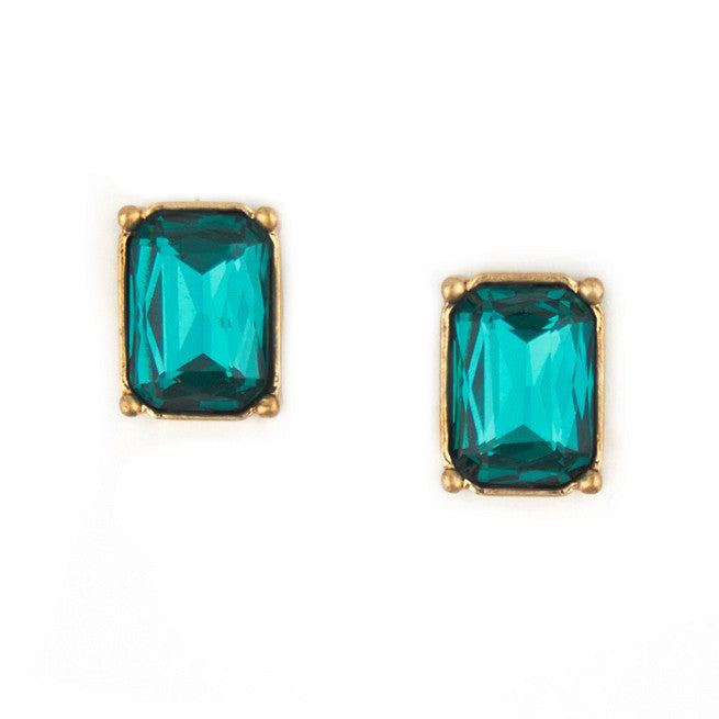 Green Czech Studs with Gold Setting