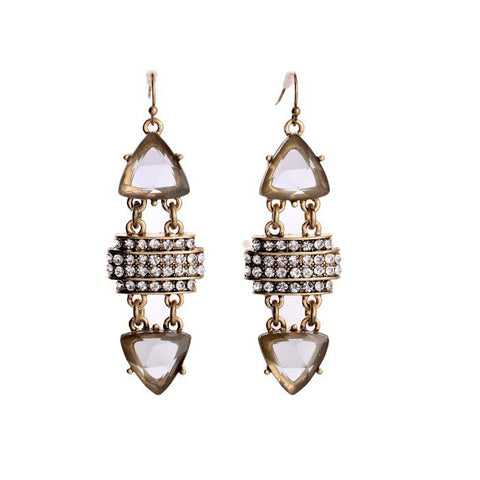 Triangle Gem and Pavè Drop Earrings