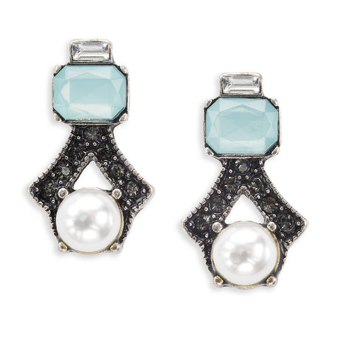 Blue and Pearl Geometric Stud Earrings