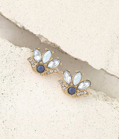 Blue and Gold Floral Studs
