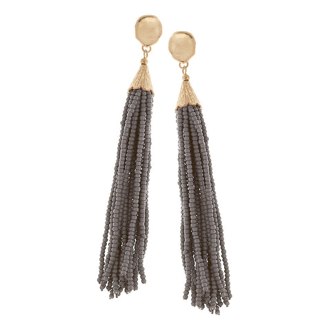 Grey Seed Bead Tassel Earrings