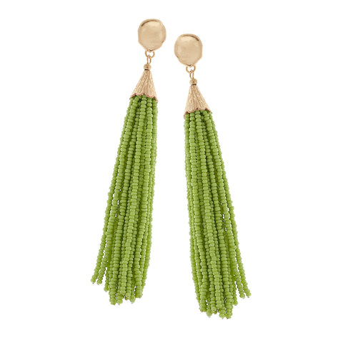 Spring Green Seed Beaded Tassel Earrings