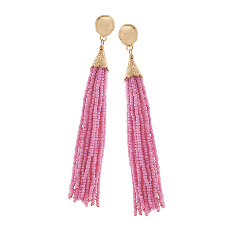 Beaded Tassel Earring - Light Pink