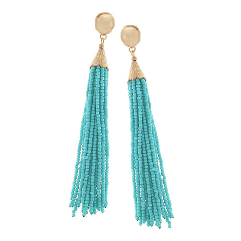 Teal Seed Beaded Tassel Earrings