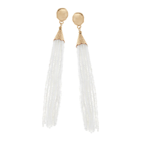 White Seed Beaded Tassel Earrings