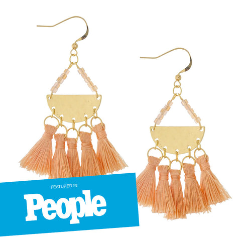 Semi-Circle Hammered Coral Tassel Earrings