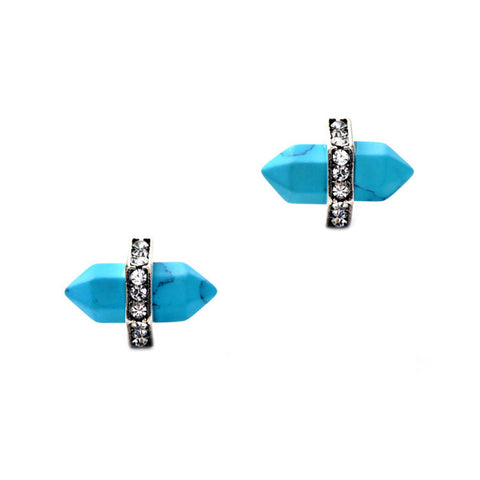 Spike Turquoise Stud Earrings with Rhinestones