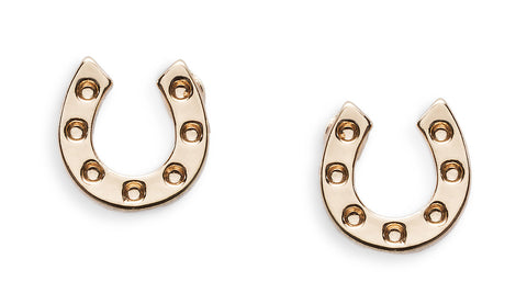 18K Gold Horseshoe Stud Earrings