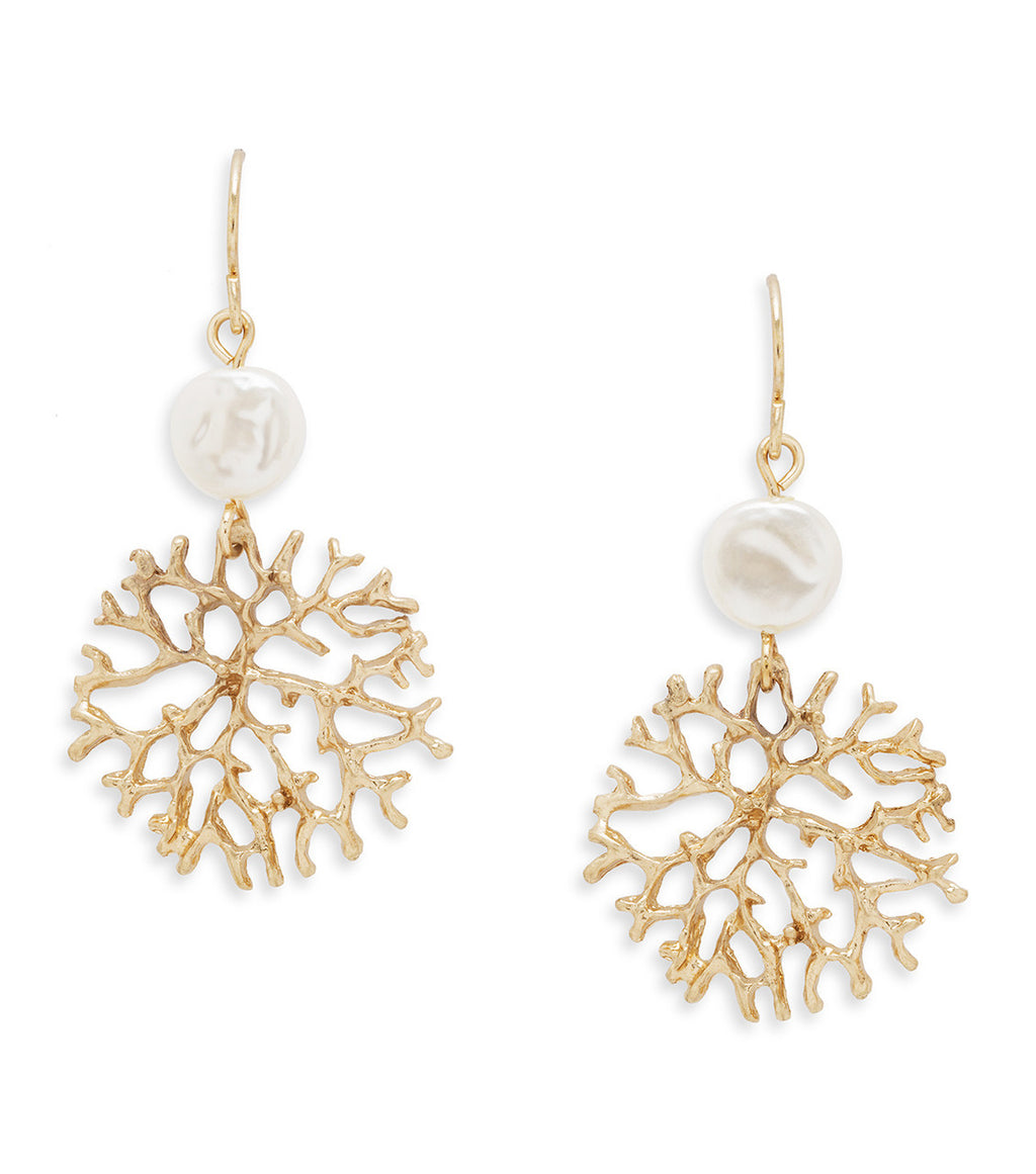 Gold Coral Drop Earrings with Pearl